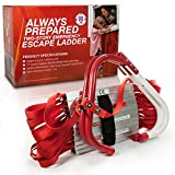 Premium Emergency Fire Escape Ladder Two-Story (13-Foot Long) For WINDOWS Only -V Center Support, Flexible & Sturdy Design With Wide Steps. One-Time Use