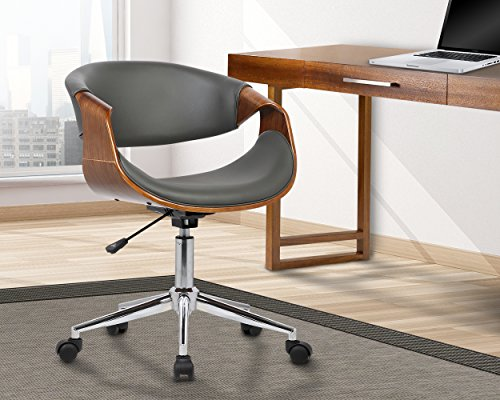 Armen Living LCGEOFCHGREY Geneva Office Chair in Grey Faux Leather and Chrome Finish