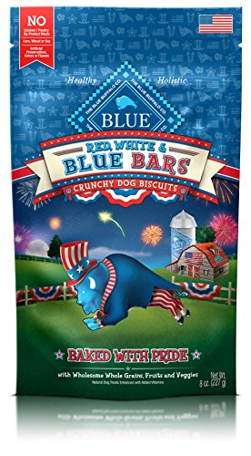 BLUE Red, White and BLUE Bars Seasonal Dog Treats 8-oz