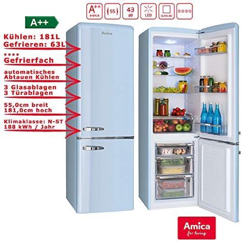 Amica kgcr 387 100 L nevera/congelador Color Azul Claro Retro de ...