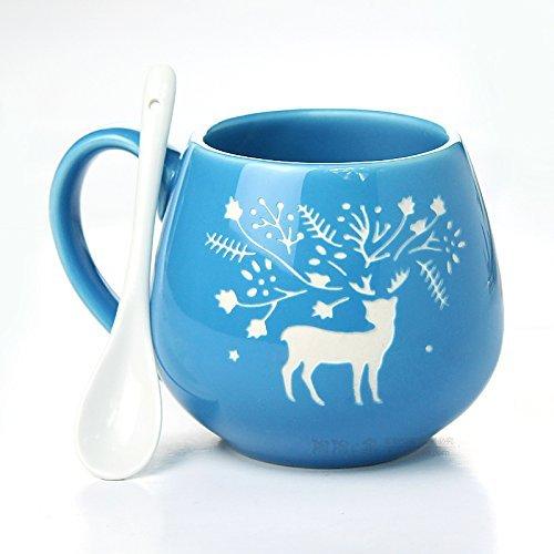 FUBARBAR Creative Christmas Lovely Simple Breakfast Cup Ceramic Cup Mug Lovers Cup Milk Cup Coffee Cup with Spoon (Elk Blue)