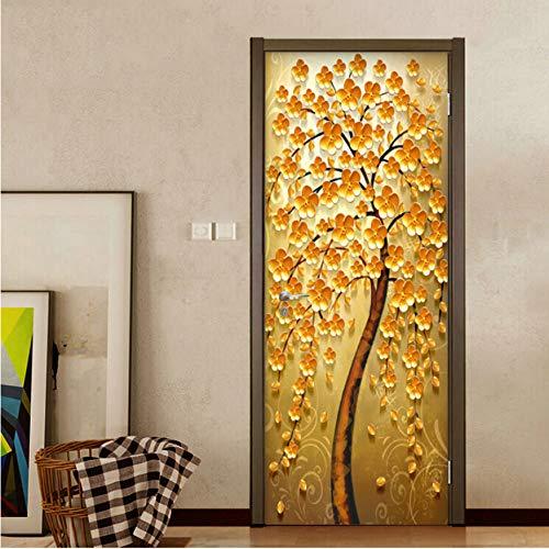 Adesivo Porta Blindata Interna 35.4X78.7,3D PVC Autoadesivo Impermeabile Smontabile, Klimt Mare Adesivi Spiaggia Zen Cascata Scultura, Albero doro
