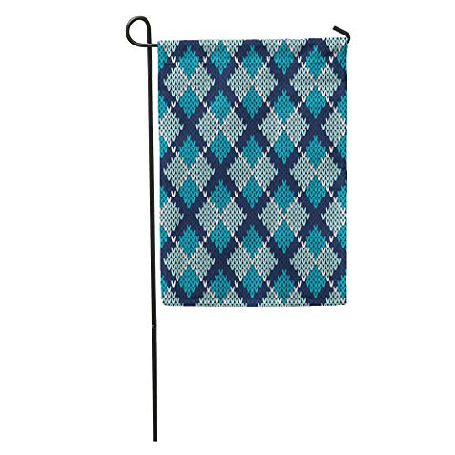 (Semtomn Garden Flag Blue Knit Argyle Knitted Pattern Tartan Sweater Plaid Stripes Hipster Home Yard House Decor Barnner Outdoor Stand 28x40 Inches Flag)