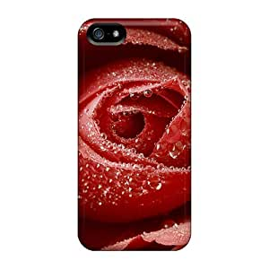 Unique Design Iphone 5/5s Durable Cases Covers Dewy Red Rose