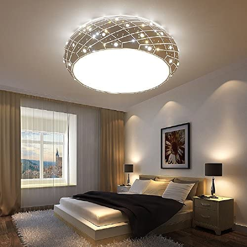 Crystal Ceiling Lights lamp Bedroom Living Room Lighting White 36W LED Integrated Light Source Include, White Acrylic Lamp Shade Inlaid Crystal Diamond D20.8
