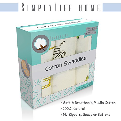 SimplyLife Home Boy Swaddle Blankets Baby Wrap, Soft Breathable Muslin Cotton, Adjustable Infant Swaddles, Perfect for Receiving, Swaddling Newborn Boys, Nursing or Stroller Cover, Burp Cloth (Cotton Infant Baby Wrap)