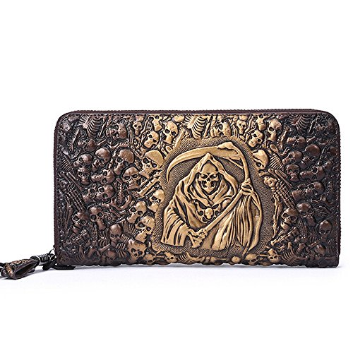 SEALINF Mens Skull Embossed Long Leather Wallet Zipper Clutch Card Holder (golden) (Holder Crocodile Passport)
