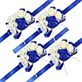 Pack of 4 Wedding Girl Bridesmaid Wrist Corsage Hand Flower Party Prom Accessories RoyalBlue