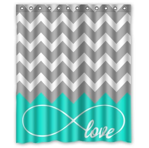 Love Infinity Forever Symbol Chevron Pattern Turquoise Grey White Waterproof Bathroom Fabric Shower Curtain