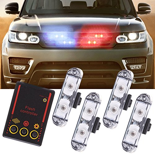 Molie 12V 2LED Mini LED Flash StrobeCar Police Emergency warning Light High Brightness Car Styling 3 Flashing Fog lights by Molie