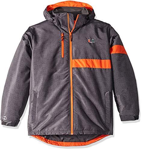 Ouray Sportswear NCAA Miami Hurricanes Men's Raider Jacket, Large, Carbon Print/Orange