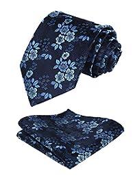 HISDERN Men's Floral Tie Handkerchief Woven Flower Necktie and Pocket Square Set
