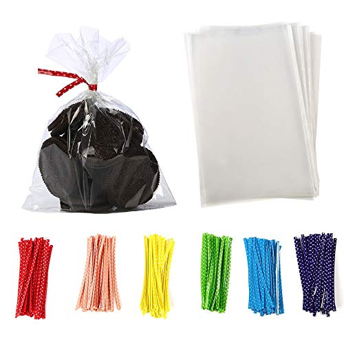 brdonsuper || 5 in x 7 in Clear Flat Cello Cellophane Treat Bags Good for Bakery,Popcorn,Cookies,Candies,Dessert 1.2mil.Give Metallic Twist Ties!, 100 Pcs, Transparent]()