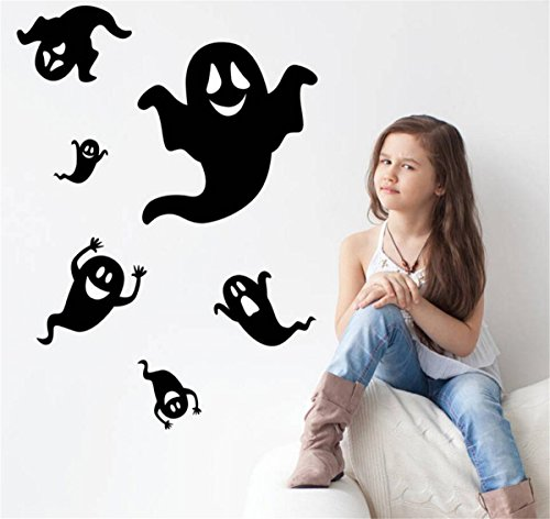 IXIMO Happy Halloween Wall Stickers Removeable Terror Ghost Mura Decor Art Stickers Kids Room Waterproof Decoration (Create A Banshee Costume For Halloween)