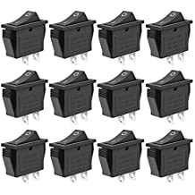 MXRS Mini Boat Rocker Switch 12PCS Toggle Switch 10A/125V 6A/250V 2 Pin Toggle Switch SPST ON/Off Replacement Switch for Car Auto Boat Household Appliances,Black