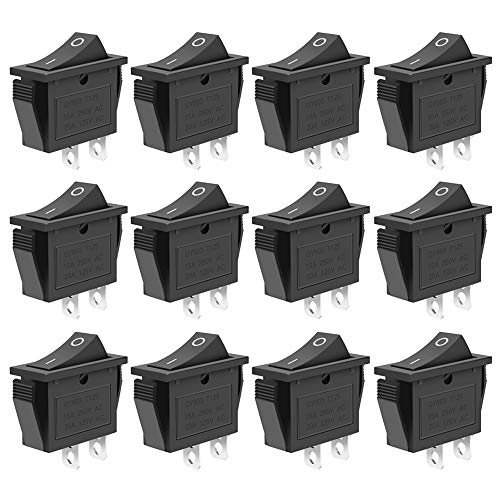 - 12 Pcs SPST Snap-in ON-OFF 2 Pin Snap Rocker Boat Switch Black AC 250V 15A 125V 20A For Car Auto Boat Household Appliances By MXRS