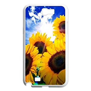 High Quality Phone Back Case Pattern Design 11Sunflower And Sun- For Samsung Galaxy Note 2 Case