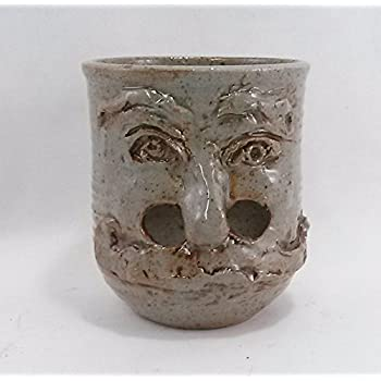 Aunt Chris' Pottery - Small Novelty Egg Yolk Separator - Hand Made - Potters Clay - Old Hermit Face Design - Gray With Black Speckles Finish