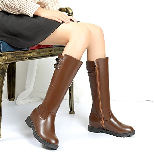 Elevin(TM)2018New Womens Winter Thigh High Boots Over The Knee Boot Increased Flat Heels Shoes Brown RjssqB1Pn