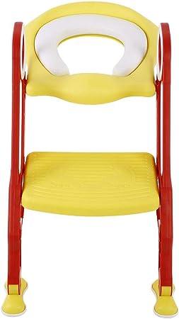GOTOTO - Reductor WC para niños con escalera plegable, asiento para inodoro para niños, asiento de inodoro, orinal con cojín suave, entrenador para orinal, antideslizante y altura ajustable: Amazon.es: Hogar