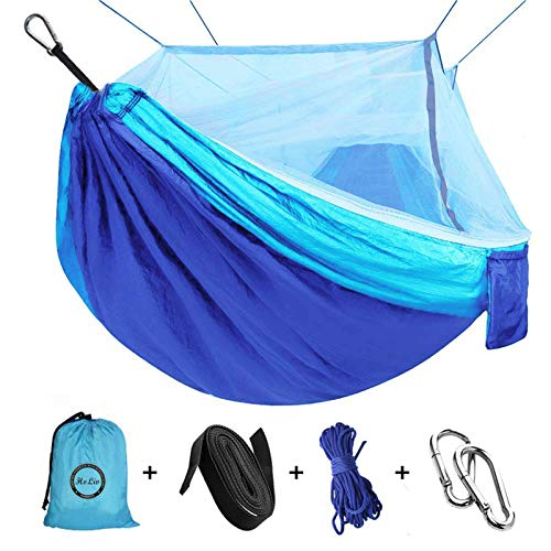 Camping Hammock with Net Mosquito, Parachute Fabric Camping Hammock Portable Nylon Hammock for Backpacking Camping Travel, Double Single Hammocks for Camping 110