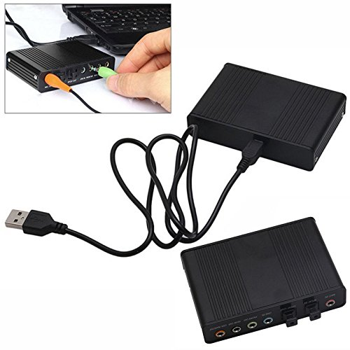 FidgetFidget Optical Sound Card Channel 5.1 Box USB External S/PDIF DAC Audio for PC Laptop