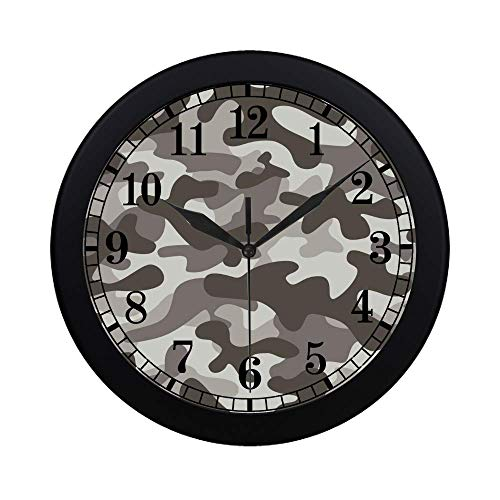 InterestPrint US Army Camouflage Military Soldier White Gray Black Monochrome Camo Print Modern Wall Clock Silent Non Ticking Quartz Frame Large Number Wall Clock Decorative Indoor/Kitchen, Black ()
