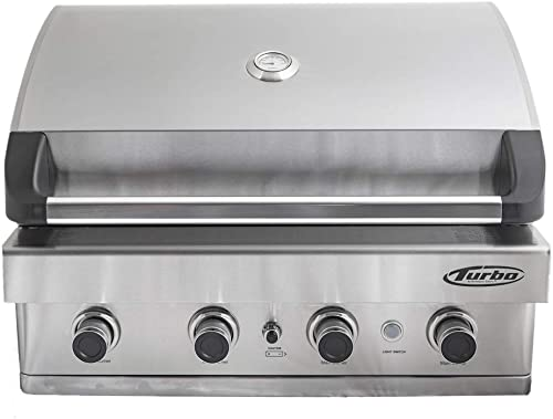 Barbeques Galore Turbo 32-inch 4-Burner Built-in BBQ Gas Grill – Natural Gas – BTH3216BNG