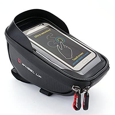 REEHUT Bicycle Handlebar Bag Waterproof Touch Screen Front Frame Bags - Mobile Phone Holder with Dual Zippers Sun Visor for phone Below 6.0 Inches