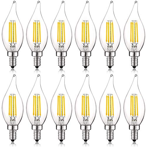 Luxrite 4W Vintage Candelabra LED Bulbs Dimmable, 450 Lumens, 5000K Bright White, E12 LED Bulb 40W Equivalent, Flame Tip Clear Glass, Edison Filament LED Candle Bulb, UL Listed (12 Pack) -