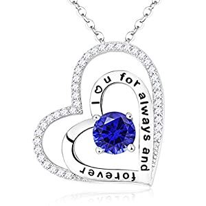 """""""Pure Love"""" Sterling Silver Hearts Necklace Engraved """" I Love You"""" Fine Jewelry Gifts for Womens, 18""""+2"""""""