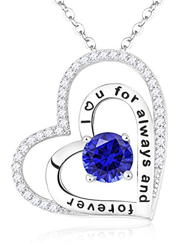 """Pure Love"" Sterling Silver Hearts Necklace Engraved "" I Love You"" Fine Jewelry Gifts for Womens, 18""+2"""