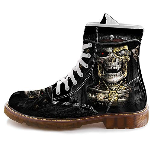 FIRST DANCE Fashion Skull Print Boots for Men Casual High