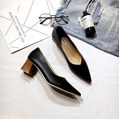 Yukun zapatos de tacón alto Señoras De Los Tacones Altos del Temperamento De La Manera La Boca Baja Salvaje Grueso con Los Zapatos Solos Zapatos Acentuados del Otoño Black