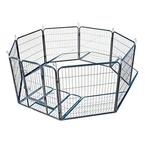 My1stPet 8 Panels Metal Exercise Dog Playpen with Door, Hammertone, 40''