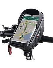 ROTTO Fahrrad Lenkertasche Fahrradtasche Rahmentasche Handyhalterung Navigationshalterung Wasserdicht Groß 6 Zoll Sensitive Touch-Screen Schwarz