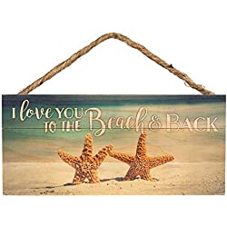 P. Graham Dunn Love You to Beach and Back Starfish Printed 10 x 4.5 Wood Wall Hanging Plaque Sign