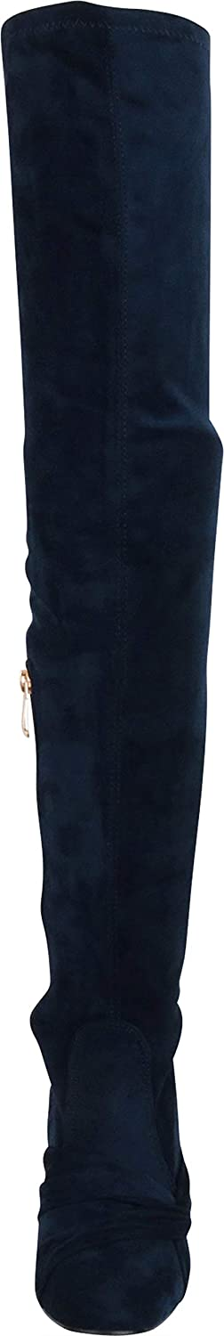 Cambridge Select Womens Thigh-High Twist Knot Chunky High Heel Over The Knee Boot