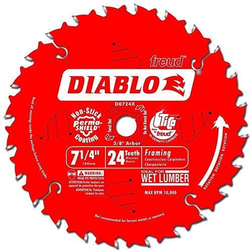 Freud D0724X Diablo 7-1/4-inch 24T ATB Perma Shield Framing Saw Blades, 10-Pack ()