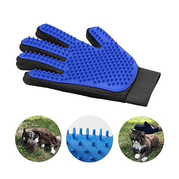 Pet Grooming Glove for Cats and Dogs - Deshedding Brush Glove for Easy Hair Removal. Hands On Grooming Mitt. A Joy Both for The Animal and The Owner. 1