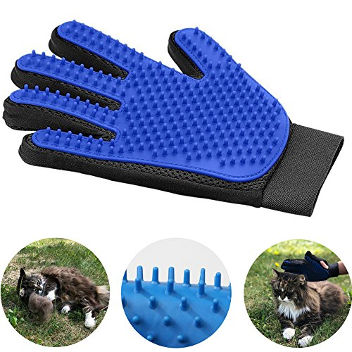 (Pet Grooming Glove For Cats And Dogs - Deshedding Brush Glove For Easy Hair Removal. Hands On Grooming Mitt. A Joy Both For The Animal And The Owner.)