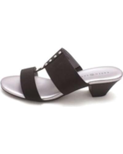 Karen Scott Womens Zana Fabric Open Toe Casual Slide Sandals Black Size 50