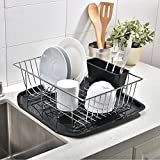 Best Commercial Steel Rust Proof Kitchen In Sink Side Draining Dish Drying Rack, Chrome Dish Rack With Black Drainboard