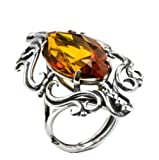 Honey Amber and Sterling Silver Marquise-shaped Ring Size 8