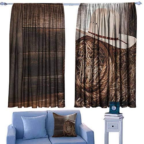Black Out Window Curtain,Western American West Rodeo Hat Traditional Ranching Robe on Wooden Ground Folk Art Photo,Thermal Insulated Light Blocking Drapes for Bedroom,W55x39L Inches Brown Beige ()