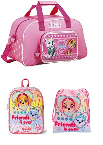 (Paw Patrol Skye Pink Sports Bag, Backpack and Drawstring Bag)