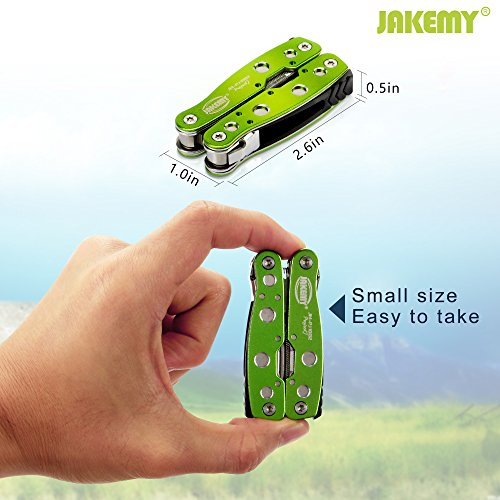 Jakemy Multitool, Mini Pocket Folding 10 in 1 Knife, Pliers, Screwdriver with Sheath, Multi Purpose Stainless Steel Portable Survival Tool for Camping, Fishing, Hiking, Christmas Gift for Husband, kid