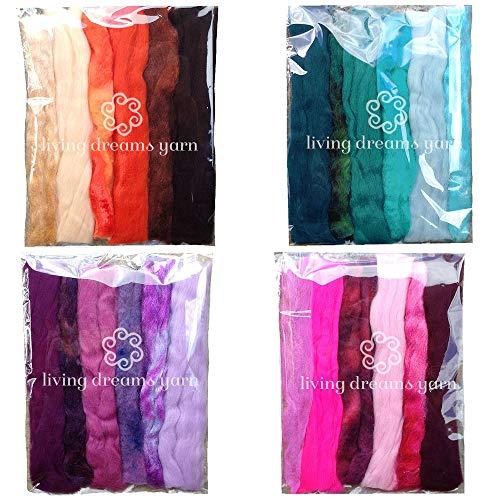 Magic Wool Fiber for Needle Felting Wool Fairies, Angels, Mermaids and Waldorf Dolls. Super Soft Merino Roving, Hand Dyed BFL Luster Wool and Sparkling Firestar. 4 Multi Fiber Samplers 1oz Each ()