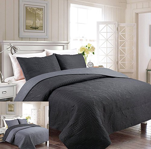 Mk Collection 3pc Full/Queen Oversize Luxurious Embossed Coverlet Bedspread Set Solid Charcoal/Gray Reversible New