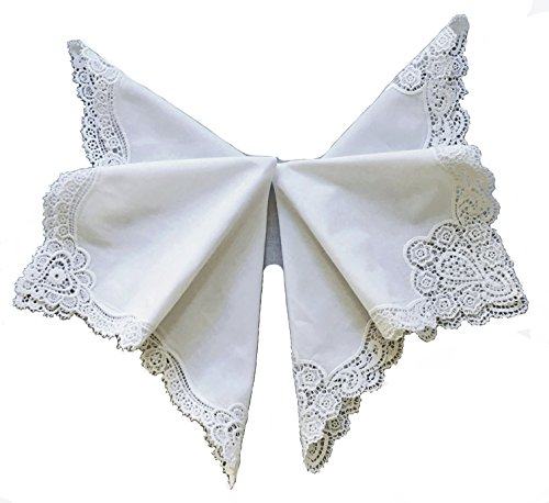 Set of 2 Mixed Love Sweet Heart Bridal Wedding Embroidery Crochet Lace Handkerchief/white for Lady (Bridal Hankie)